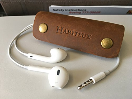 Habitoux Handmade Leather Cable Management for Phone Mobile