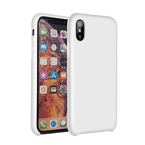Vemsoul iPhone Xs Max Case, Hybrid Gel Rubber Liquid Silicone Cases Classic Bumper Shockproof Drop Protective, iPhone Xs Max 6.5 inch Silicone case(White)