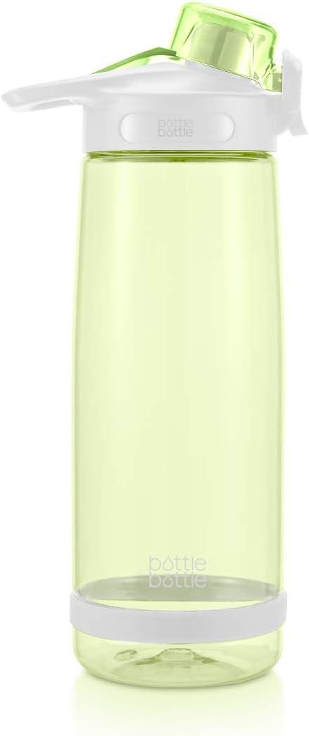 BTTLE Botella de Agua Deportiva de 800 ml para Ciclismo, Correr, Senderismo, Botella de plástico a Prueba de Fugas con asa y Tapa abatible, Amarillo