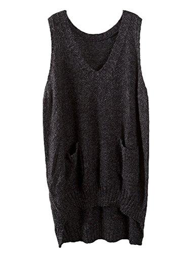 Minibee Women's Deep V-neck Sleeveless Knitted Hi Low Sweater Vest Black,One Size