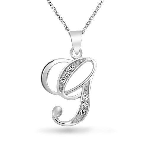 Az Collection Plated Necklace - Abc Cubic Zirconia Pave CZ Cursive Script Letter Alphabet Initial G Pendant Necklace For Women Sterling Silver