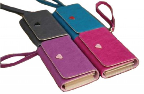 Wallet Wallet Leather Purse Case Cover Envelope Card For Samsung Galaxy S2 S3 Iphone 4S-Pink