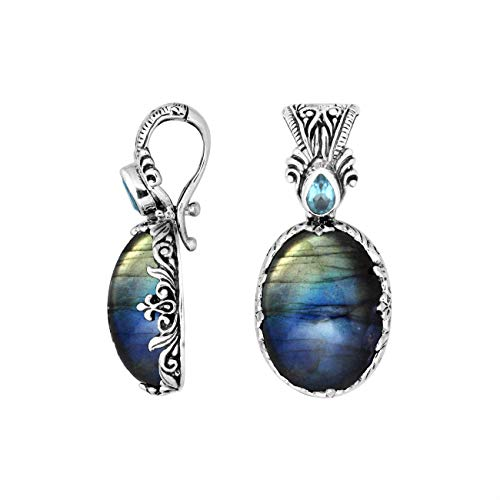 - Sterling Silver Pendant with Labradorite, Blue Topaz & Enhancer Pendant Bail AP-8027-LB
