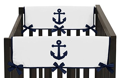 -Piece Navy Blue and White Nautical Anchor Teething Protector Cover Wrap Baby Crib Side Rail Guards ()