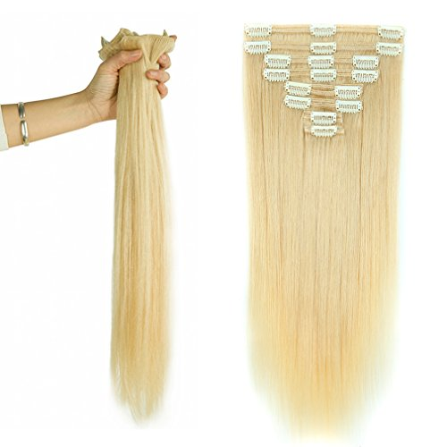 Platinum Blonde Clip in 100% Remy Human Hair Extensions Double Weft #60 Grade 7A Quality Full Head Thick Long Soft Silky Straight 8pcs 18clips for Women Beauty 20'' / 20 inch 150g by Sexybaby