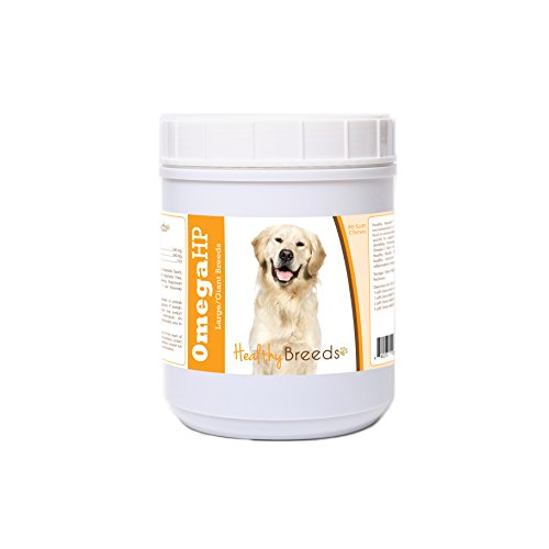 Healthy Breeds Omega 3 for Dogs for Golden Retriever, White  - OVER 100 BREEDS - EPA & DHA Fatty Acids - Medium & Large Breed Formula - 90 Count ()