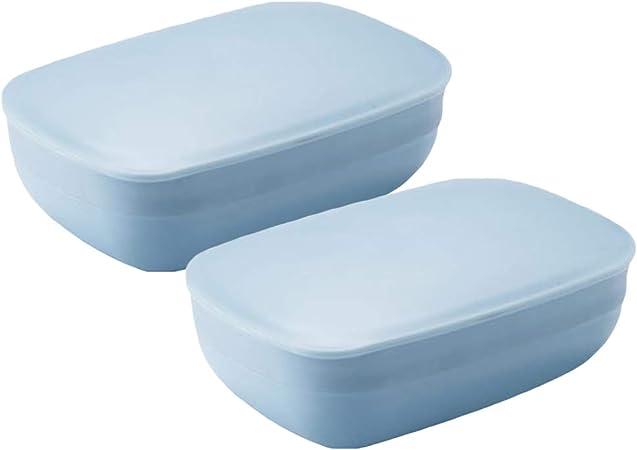 BESTONZON 2 Paquetes Portátil Jabonera Plato Impermeable Sello Jabón Caja Ligera Jabón Caja Contenedor para Baño Ducha Hogar Exterior Viaje (Azul): Amazon.es: Hogar