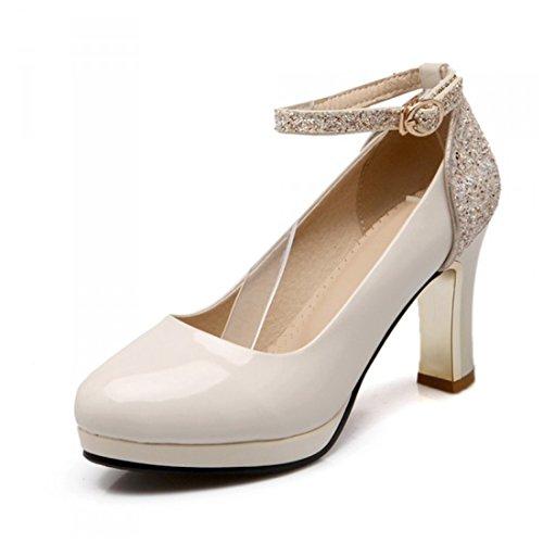 Tacon Alto Women white de de de Zapatos creamy Mujeres Americanas Sandalette Alto 's los DEDE Las Europeas y Tacón Zapatos Singles RwCzxq6aP