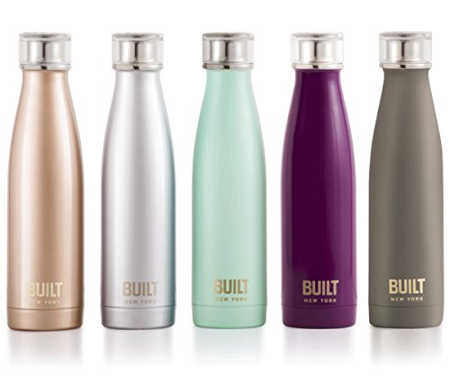 Built NY Double Wall Stainless Steel Perfect Seal Water Bottle, 17-Ounce, Purple