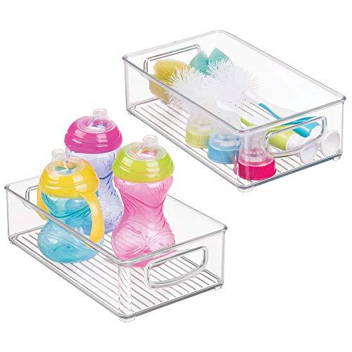 (mDesign Plastic Kitchen Pantry Cabinet, Refrigerator or Freezer Food Storage Bins with Handles - Organizer for Fruit, Yogurt, Snacks, Baby Bottles, Jars - BPA Free, 10