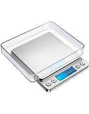 ميزان مطبخ رقمي، مقياس مجوهرات جيب صغير 500 /0.01 جرام، مقياس لطهي الطعام مع شاشة ال سي دي ذات إضاءة خلفية، 2 صواني، 6 وحدات، ايقاف تلقائي، الوزن الفارغ، وظيفة القطع، ستانلس ستيل، البطاريات متضمنة