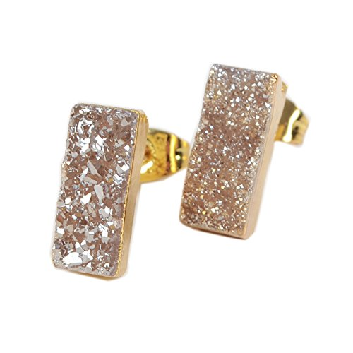 JAB 1 Pair Gold Plated Rectangle Sparkle Titanium Druzy Studs Post Earrings Champagne