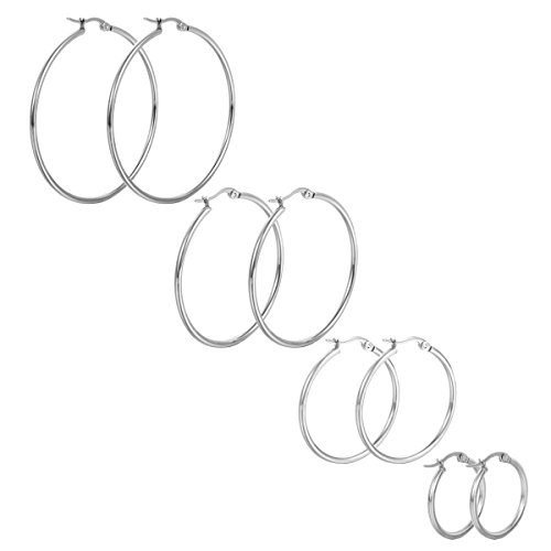 HooAMI Fashion Silver Tone Stainless Steel Round Hoop Earrings Set, 4 Pairs (Silver Hoop Earring Set)