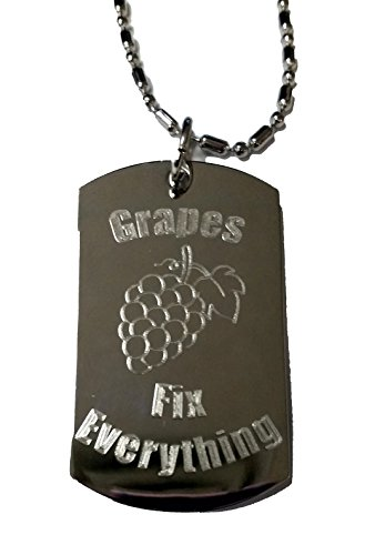 Grape Fix (Grapes Fix Everything - Luggage Metal Chain Necklace Military Dog Tag)