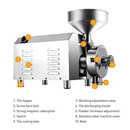 Large Commercial Grain Grinding Industrial Machine Electric Beer Grain Mill Grinder Nutri Mill Flour Motorized Stainless Steel Barley Crusher for Wheat Corn Coffee Pepper Soybean, 30-50kg/h (2200W) by Rbaysale (Image #7)