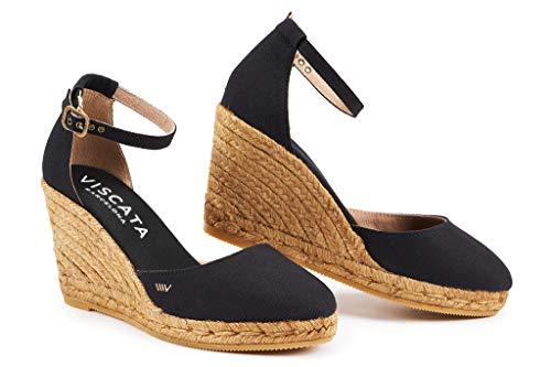 Heel Ankle Espadrilles Viscata inch Made Canvas 3 Comfort Elegant Toe Spain Estartit Closed Negro In strap With Barcelona wzrqzXO