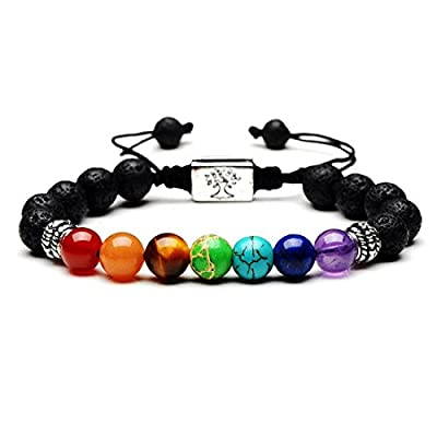 New WUSUANED 7 Chakra Yoga Bracelet 8mm Lava Rock Healing Bracelet with Family Tree Om charms