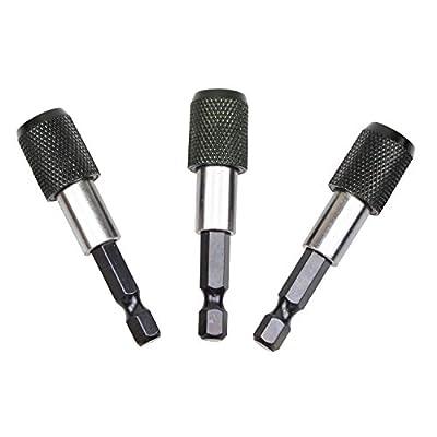 "1/4"" 60mm Hex Shank Magnetic Quick Release Screwdriver Bit Drill Holder (3pcs)"