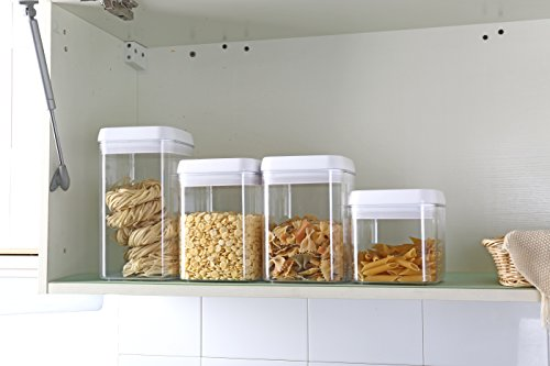Easy Lock Airtight Kitchen Storage Containers 4pc (XL,L,M) Size Set Plastic Canisters With Vacuum Seal Lids, White (1.8gallons / 6.7L)