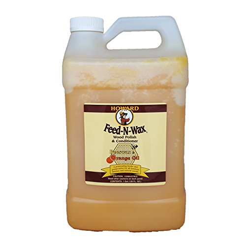 (Howard Feed-N-Wax Wood Polish and Conditioner and Preserver 128oz 1Gallon, Polish Wood Floors, Wood Restorer, Antique Furniture Restoration)