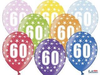 Luftballon Zahl 60 Bunt / Mix Metallik Zum 60. Geburtstag 5 Stück 30cm  Durchmesser ,