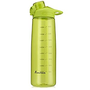 BONISON 34 OZ Wide Mouth Sports Water Bottle Flip Top Lid With Handle, Leak Proof, Bpa Free, Various Capacity. Perfect for Travel Yoga Running Outdoor Cycling Hiking Or Camping. Green
