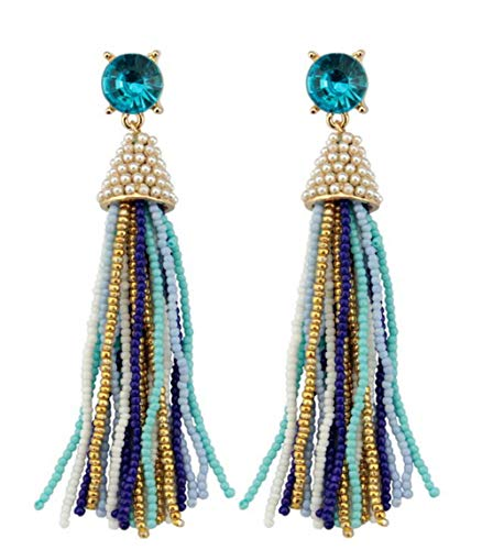 stylesilove Womens Fashion Handmade Crystal Beaded Tassels Long Earrings (Aqua -