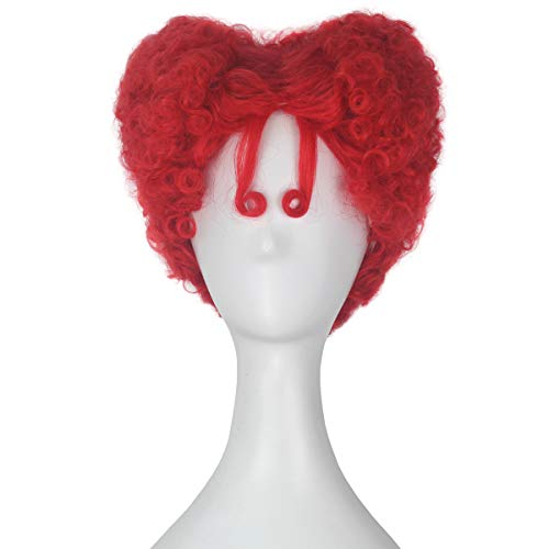Miss U Hair Adult Short Curly Agedness Hair Heart Style Halloween Costume Wig (Red) -