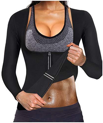Gotoly Women Waist Trainer Hot Neoprene Shirt Sauna Suit Sweat Body Shaper Jacket Top Zipper Long Sleeve(Black, Small)