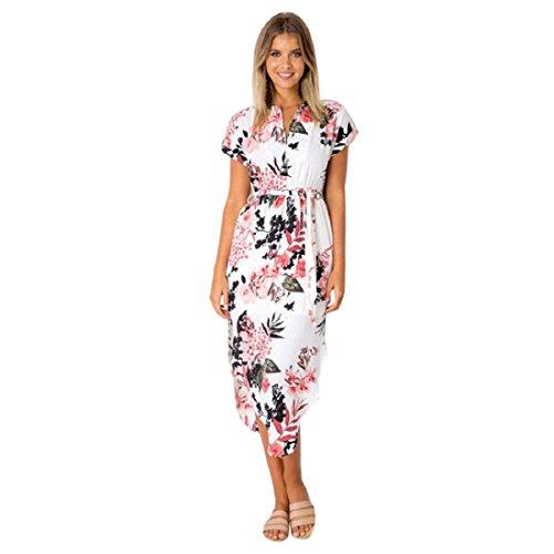 PAOLIAN Damen Beiläufig Kurzarm V-Ausschnitt Maxikleid Sommer Bedrucktes Strandkleid Sommerkleid Midikleid mit Gürtel Weiß