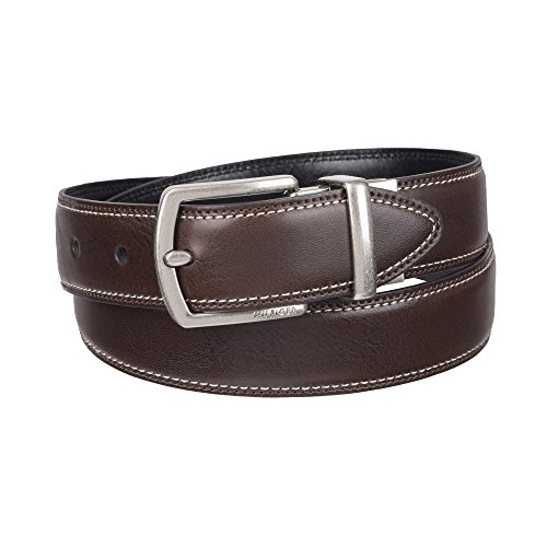 Tommy Hilfiger Boys' Big Reversible Dress Belt, Brown/Black Stitched, Small (22-24)