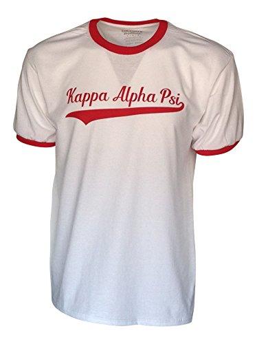 - Mega Greek Mens Kappa Alpha Psi Tail Ringer T-Shirt (X-Large) White