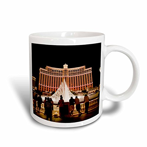 "3dRose 92182_1""Nevada, Las Vegas, Bellagio Hotel and Casina-US29 BBR0061-Brent Bergherm"" Ceramic Mug, 11 oz, White"
