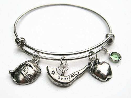 (Personalized Rosh Hashanah Bracelet, Expandable Stainless Steel Bangle, Shofar Charm, Jewish New Year Jewelry)