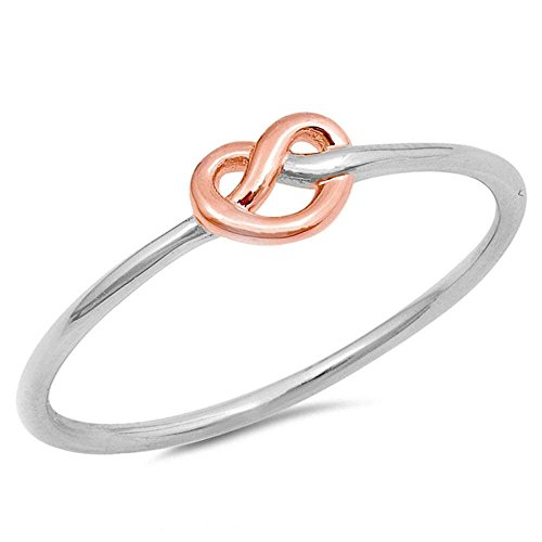 Tone Knot Ring Two - Oxford Diamond Co Sterling Silver Two Toned Love Knot Band Promise Ring Sizes 10