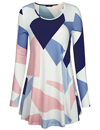 Laksmi Juniors Tunic, Long Sleeve Office Wear For Womens Pretty Gorgeous Fashion Fall Tunic Casual Printed Shirts,Blue Pink Large (Tunic Printed Pink)