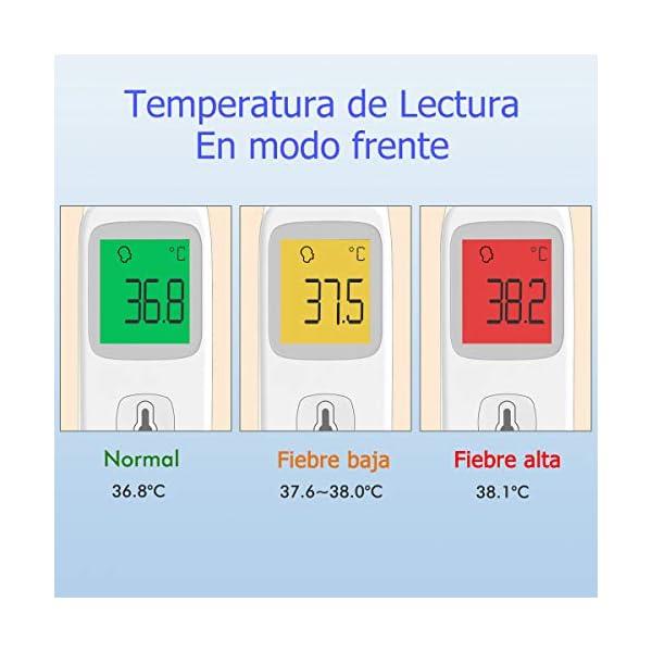 Termómetro Frente Termómetro Digital Medición Precisa y Rápida 35 Lecturas de Memoria Termómetro Infrarrojo Sin Contacto con Alarma de Fiebre Adecuado para Niños, Adultos, Ambiente y Objetos 10
