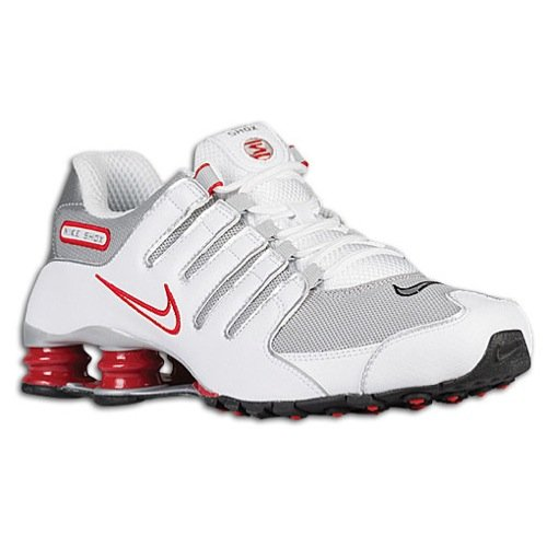Nike Mens Shox NZ Running Shoes White/Sport Red/Cool Grey 378341-104 Size 9.5