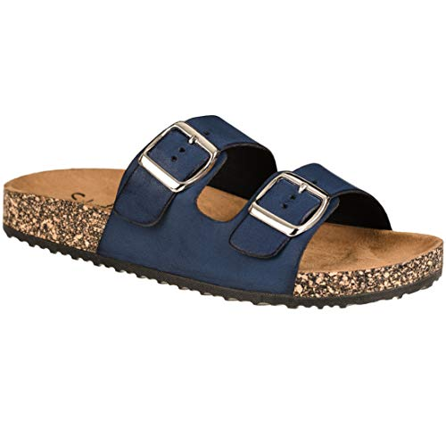 CLOVERLY Comfort Low Easy Slip On Sandal - Casual Cork Footbed Platform Sandal Flat - Trendy Open Toe Slide Sandal Shoes (11 M US, Navy)
