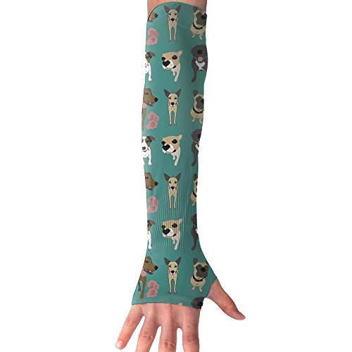 Green Background Dog With Flower Pattern Ultra Long Non Finger UV Resistant Gloves Gloves Sleeve, For Women And Men To Provide Sunscreen Protection 1 Pairs, For Outdoor Sports, Driving, Bicycles by WEIFG
