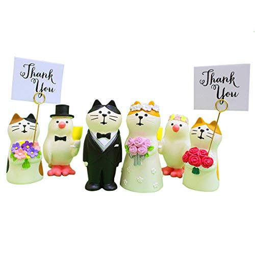 Wedding Cake Topper,Wedding & Engagement Party Cute Funny Cat Figure Set for Decoration (6 pcs - Decorating Cake Figurines