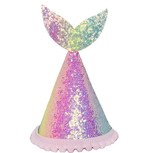 Maticr Mermaid Tail 1st Birthday Cone Hat with Adjustable Headband for Baby Girl Mermaid Party Supplies (Glitter Rainbow)