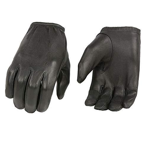 MEN'S POLICE STYLE GLOVES W/CINCH WRIST BLK, UNLINED DEERSKIN LEATHER - Leather Blk Gloves