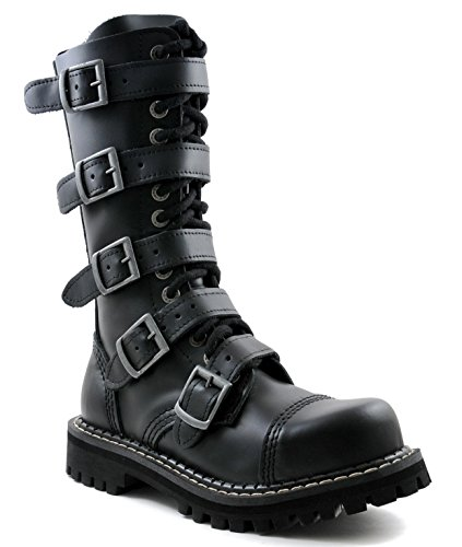 ANGRY ITCH - 14-Loch Gothic Punk Army Ranger Armee Leder Schuhe mit Stahlkappe