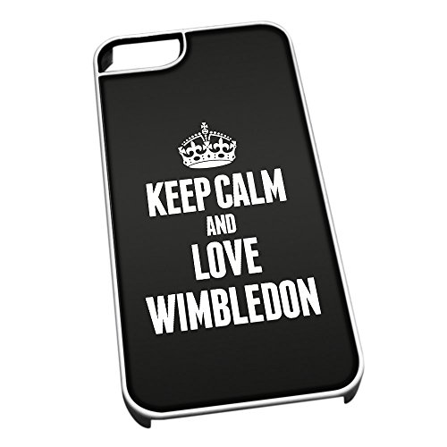 Bianco cover per iPhone 5/5S 0719 nero Keep Calm and Love Wimbledon