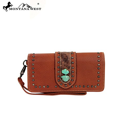 MW129-W002 Montana West Western Concho Collection Wallet-Brown