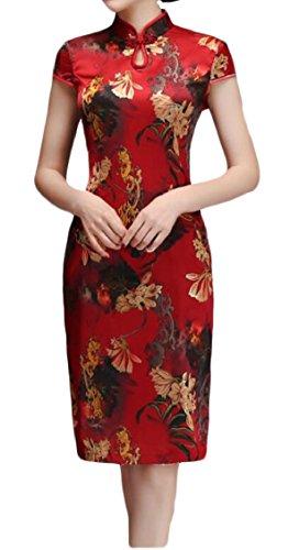 Jaycargogo Imprimé Floral Élégant Femmes Mini Robe Partie Chinoise De Qipao 16