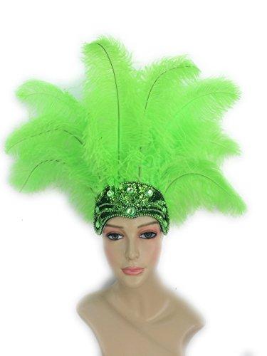 Carnival Feathet Headdress (Lime (Carnival Costume Headdress)