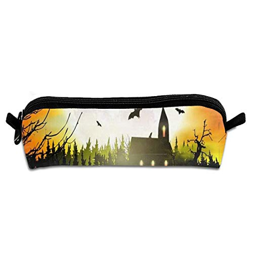 MISSMORN Pencil Case Bag Happy Halloween Castle Pumpkin Pen Organizer Pouch Holder Protective Storage Container Perfect Gift for Students & Artist for $<!--$4.68-->