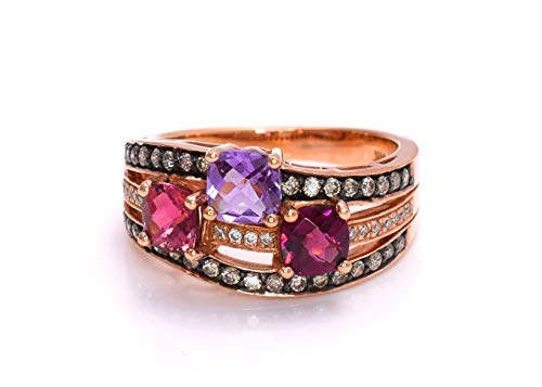 LeVian Pink Tourmaline, Rhodolite Garnet Amethyst Chocolate Diamonds 2.02 cttw Ring 14k Rose Gold